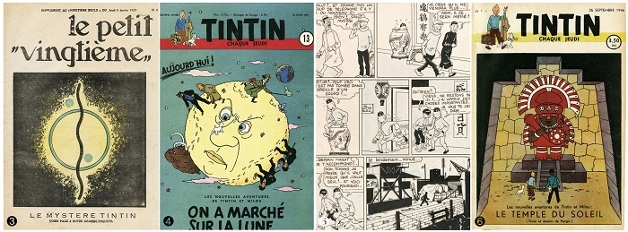 ❸ Set of Petits Vingtie mes, 210×297㎜, 1933년 ❹ The Adventure of Tintin 「Objective Moon」 Co -ver Illustration, 205×295㎜, 1950년 ❺ The Adventure of Tintin 「The Blue Lotus」 Plate 110, 370×532㎜, 1935년 ❻ The Adventure of Tintin 「Prisoners of the Sun」 Cover Illustration, 208×300㎜, 1946년ⓒHerge Moulinsart 2018 [사진=인터파크 제공]